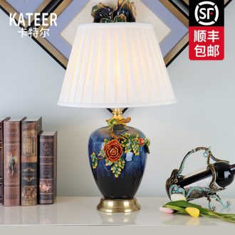 Cartel European American key-2 luxury colored enamel lamp creative living room full of bedroom the head of a bed copper ceramic lamp act the role ofing villa