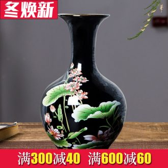 Jingdezhen chinaware lotus flower bottle arranging flowers, vase of porcelain of modern Chinese style household adornment sitting room ark, furnishing articles