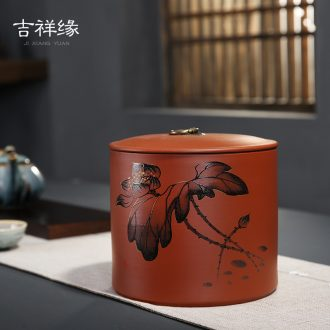 Auspicious margin of violet arenaceous caddy ceramic large scattered receives a kilo is installed seal big yards come to pu 'er POTS of household