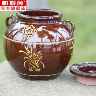 . Chili traditional ceramic pot cylinder bottle home a large high temperature oil kitchen lard with cover jar