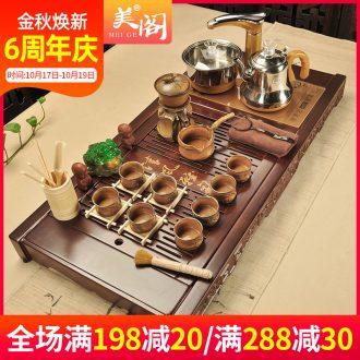 Beauty cabinet violet arenaceous kung fu tea tea set ceramic household solid wood tea sets tea tea tray of a complete set of fully automatic