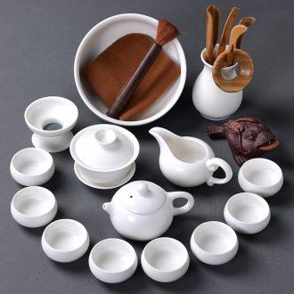 Tao blessing of household ceramics kung fu tea set the whole kiln white porcelain teapot teacup tea wash tea tea set
