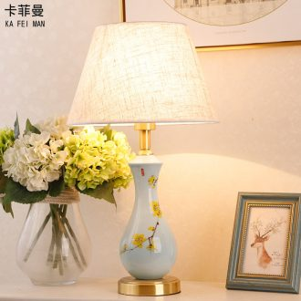 New Chinese style full copper ceramic desk lamp bedroom American contracted sitting room study marriage room warm and romantic home bedside lamp