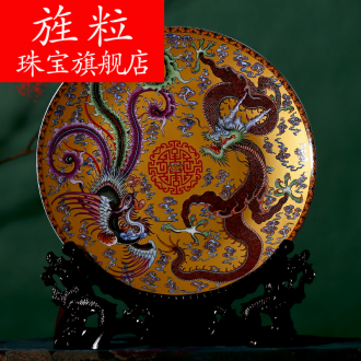 Continuous grain of jingdezhen ceramic longfeng fashionable adornment ornament porcelain decoration hanging dish place China plate