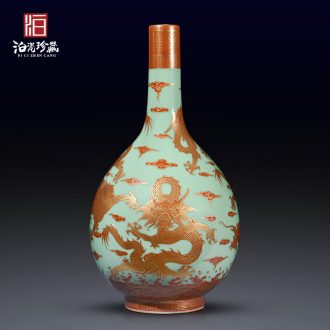Jingdezhen ceramics imitation the qing qianlong pea green paint dragon gall bladder vases, new Chinese style household adornment sitting room