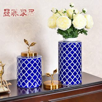 Murphy's new Chinese style classic blue and white porcelain vase place to live in the sitting room porch ark adornment fake flower flower