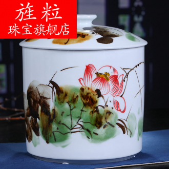 Continuous grain of jingdezhen ceramic large lotus tea pot tea cake tea pot moistureproof hand - made restoring ancient ways