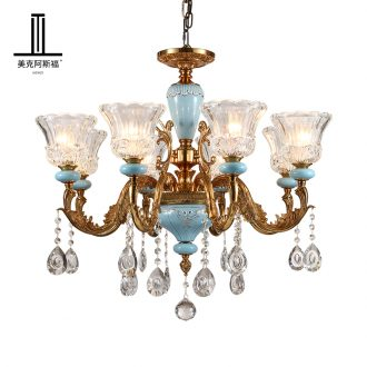 French pure copper chandelier sitting room lamps and lanterns of Europe type restoring ancient ways crystal droplight villa key-2 luxury restaurant bedroom ceramic lamp