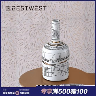 BEST WEST display light porcelain ceramic vase coloured drawing or pattern furnishing articles of key-2 luxury living room decoration of new Chinese style originality