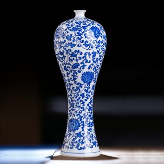 Antique vase of blue and white porcelain of jingdezhen ceramics flower arranging new Chinese style household act the role ofing is tasted, the sitting room porch place process