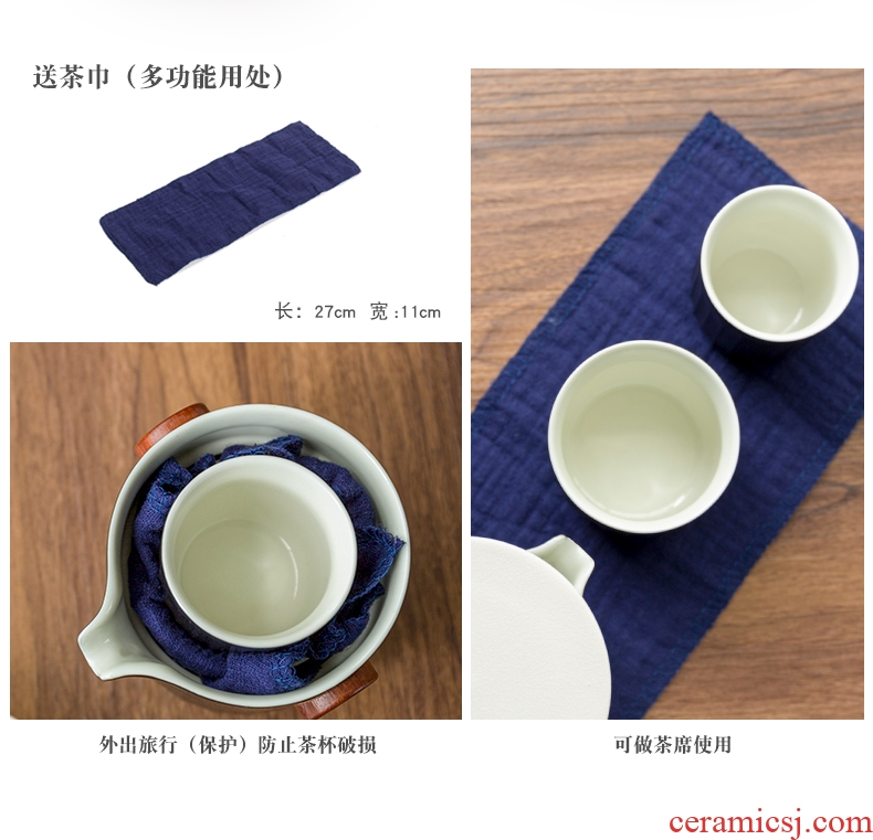 Ceramic bag kung fu tea set is suing a pot of 2 cup crack cup portable with custom logo