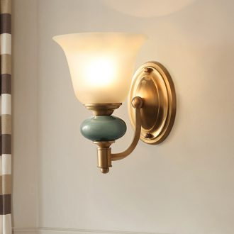 Hilton full copper European ceramic sitting room TV setting wall light light lamp of bedroom the head of a bed the American luxury lamp