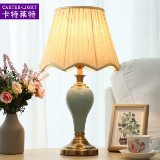 American ceramic lamp of bedroom the head of a bed lamp contracted and contemporary creative personality fashion warm light sweet romance marriage room