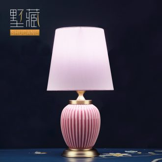 Light key-2 luxury American - style lamp ceramic decoration art designer pink lamps and lanterns of I and contracted sitting room the bedroom of the head of a bed