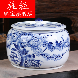 Continuous grain of jingdezhen ceramics pu 'er tea packaging gift box the tea tin with household tea cake moisture