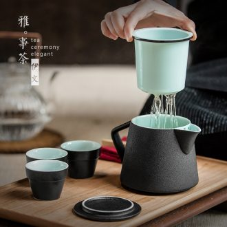 Even travel ceramic tea set office kung fu to crack a pot of 2 cup three simple tea kettle