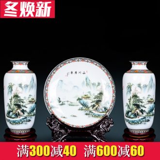 Jingdezhen ceramics three - piece floret bottle decoration in Chinese landscape painting home flower arrangement sitting room adornment is placed