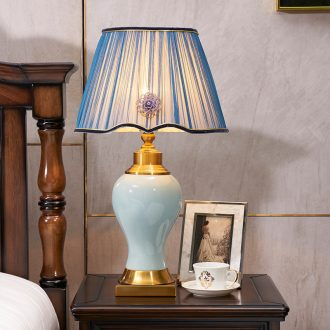 Full American cooper sitting room bedroom berth lamp manual ceramic Europe type restoring ancient ways the study hall big table household lamps and lanterns