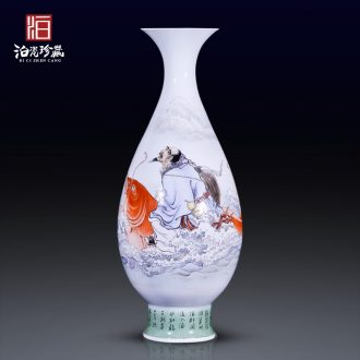 High-quality goods of jingdezhen ceramics hand-painted jean high across the carp decoration vase collection of new Chinese style household furnishing articles