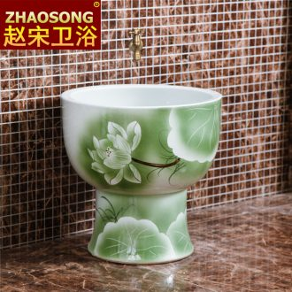 Jingdezhen large round mop pool one mop mop pool lotus pool balcony wash cloth mop basin outdoor pool