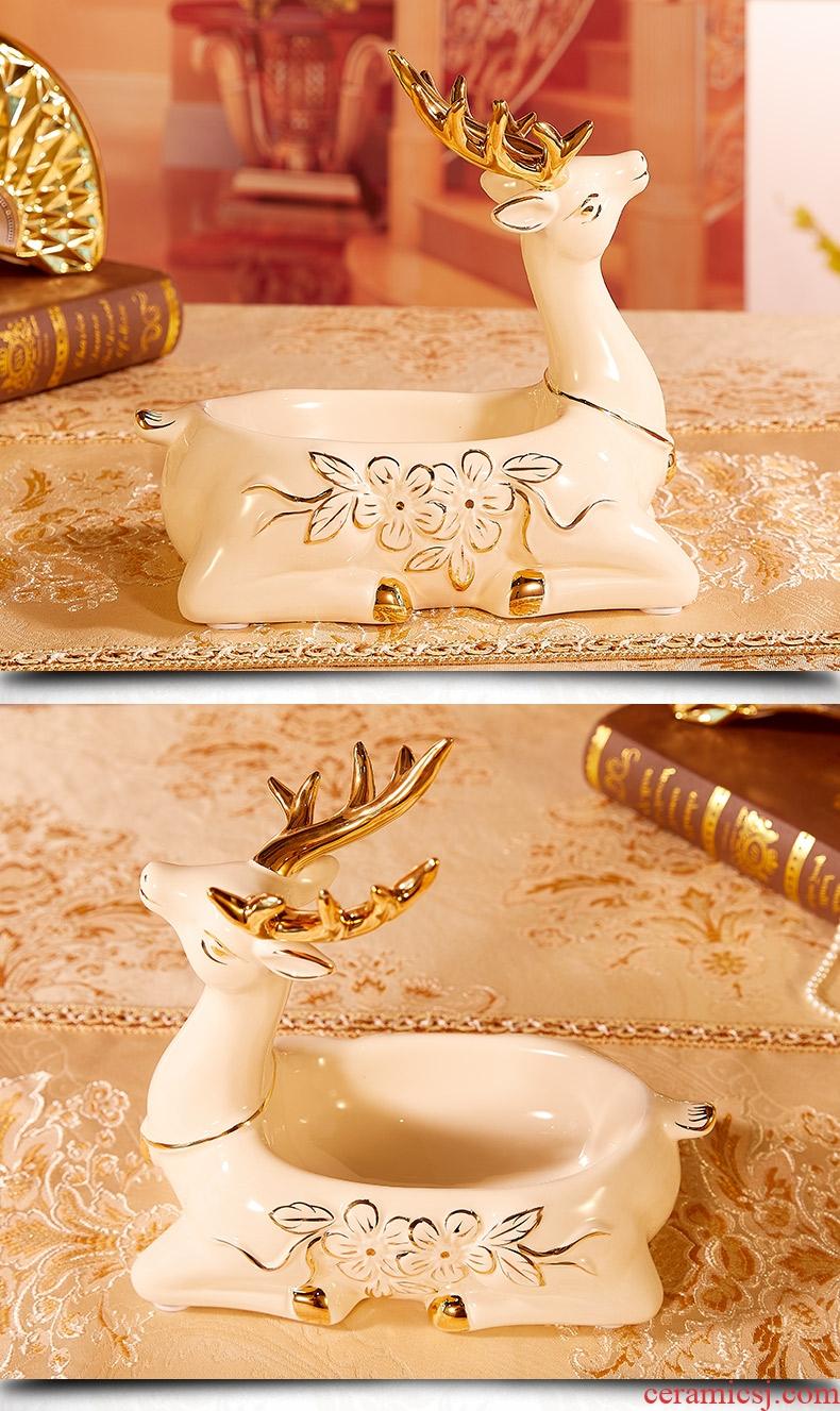 Household decorative furnishing articles furnishing articles home porch key European ceramic keys to receive disk shelf deer furnishing articles