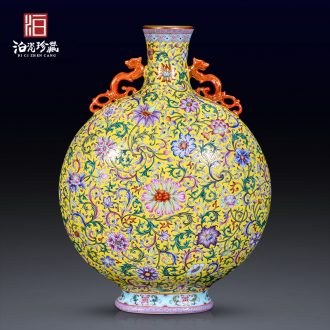 Jingdezhen ceramics colored enamel longnu ear flat bottles of the sitting room porch decoration vase collection of new Chinese style furnishing articles