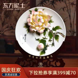 Oriental clay ceramic 10 inches hand-painted luoyang peony hang dish furnishing articles sat plate of classical Chinese style living room TV cabinet