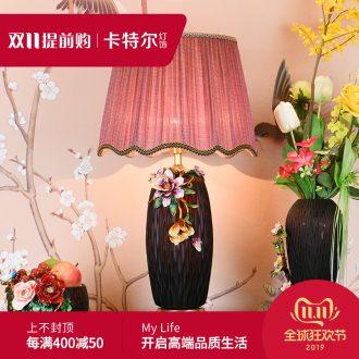Full copper colored enamel lamp ceramic lamp sitting room key-2 luxury art creative romantic marriage room American desk lamp of bedroom the head of a bed
