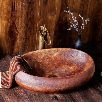 Jingdezhen ceramic sink basin on the oval, the new Chinese style restoring ancient ways character art hotel toilet basin