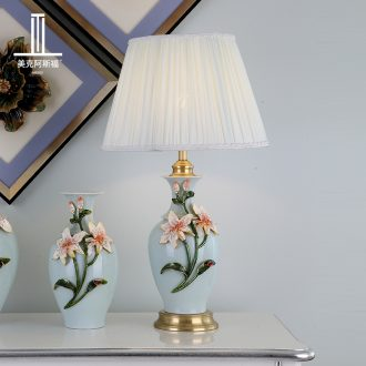 Full copper colored enamel lamp sitting room luxury simple type lamps and lanterns of bedroom the head of a bed new villa ceramic lamp