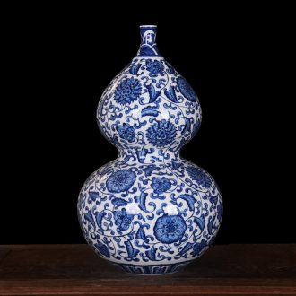 Jingdezhen ceramics imitation yongzheng blue-and-white qianlong gourd vases sitting room crafts fashion household act the role ofing is tasted furnishing articles