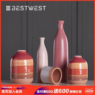 Creative ceramic vase furnishing articles modern European dry flower vase home living room table soft adornment ornament