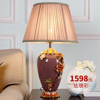 New Chinese style ceramic desk lamp lamp decoration of bedroom the head of a bed lamp I sweet full copper sitting room light colored enamel lamp
