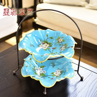 Murphy's new Chinese style restoring ancient ways double ceramic bowl American sitting room tea table nuts, dried fruit tray table decoration furnishing articles