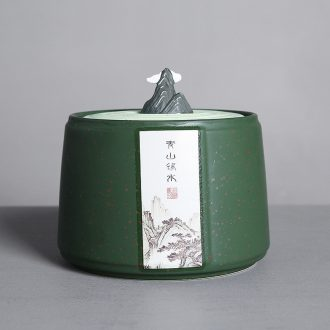 Auspicious edge tea caddy fixings ceramic tea tea box half jins to storage sealed jar