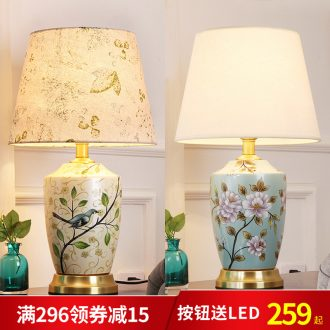 Desk lamp of bedroom nightstand lamp creative adjustable romantic contracted sitting room room warm warm light of new Chinese style ceramic lamp