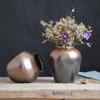The Metal glaze coarse pottery dried flower vase restoring ancient ways of jingdezhen ceramic sitting room place in modern Chinese Japanese flower arrangement