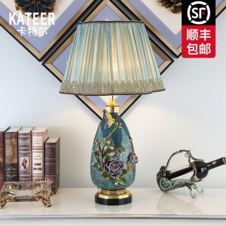 Cartel key-2 luxury colored enamel porcelain lamp type crystal creative villa living room lamp of bedroom the head of a bed