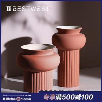 BEST WEST light ceramic vases, large key-2 luxury geometry model room soft adornment ornament furnishing articles designer