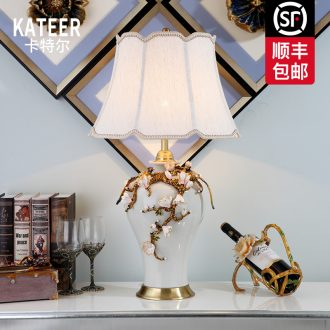 Cartel full copper ceramic desk lamp colored enamel European American luxurious sitting room high - end villa study of bedroom the head of a bed