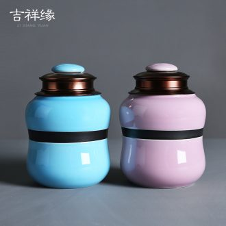 Auspicious edge caddy ceramic seal pot home storage alloy double cover up receives the tea gift box packaging