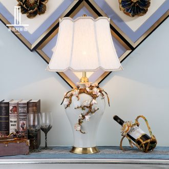 All copper ceramic desk lamp colored enamel type luxurious sitting room high-end villa study lighting lamps and lanterns of bedroom the head of a bed