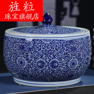 Continuous grain of jingdezhen blue and white tea cake tin, household ceramics pu 'er tea cake tea pot storage tanks
