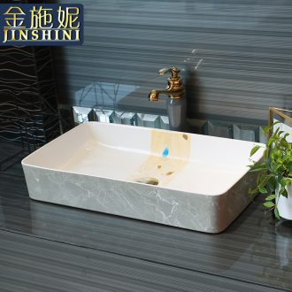 Gold cellnique stage basin household rectangle ceramic lavabo wash basin lavatory contracted ChiPan basin