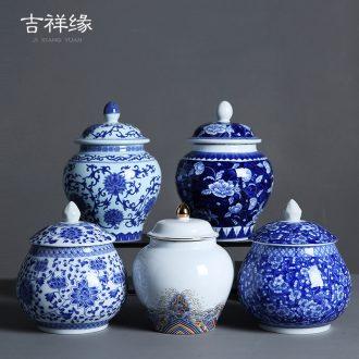 General auspicious edge caddy fixings ceramic blue and white porcelain jar with cover pot medium sealed storage tank pu - erh tea POTS