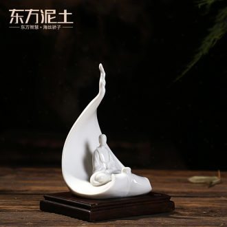 The east mud dehua white porcelain art creative zen ceramic arts and crafts decorative furnishing articles/a bodhi leaf