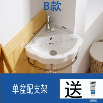 The Mini triangular column basin basin to minimum the sink hang a wall lavatory corner basin ceramic small family