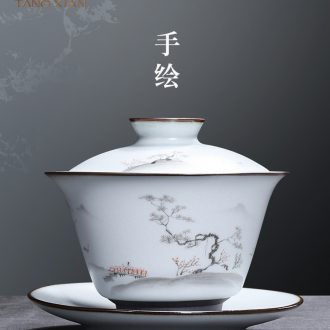 Tang Xian hand-painted tureen tea bowl is a single tea bowl three kunfu tea tureen ceramic tea set tureen cups