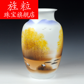 Continuous grain of jingdezhen ceramic modern Chinese famous celebrities sitting room hand - made vases, home decorations arts and crafts