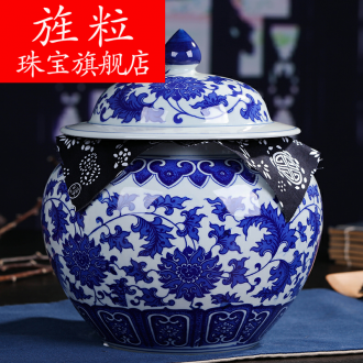 Continuous grain of jingdezhen ceramic moistureproof tea canister receives puer tea pot seal restoring ancient ways is large